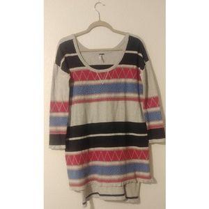 Free People Boho Aztec Long Sweater